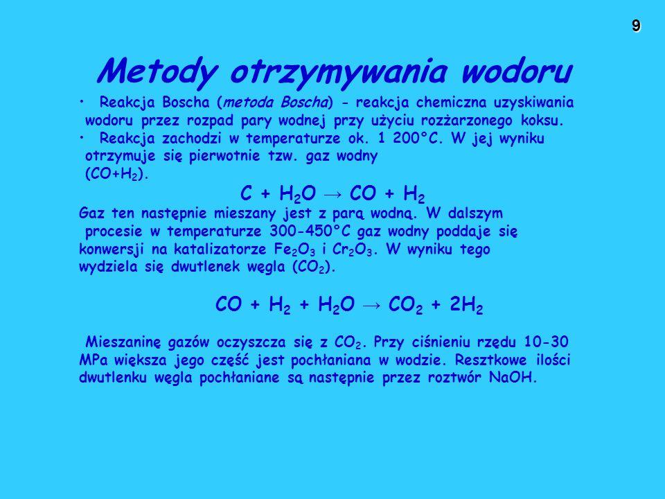 9 Metody otrzymywania wodoru Reakcja Boscha (metoda Boscha) - reakcja chemiczna uzyskiwania wodoru przez rozpad pary wodnej przy użyciu rozżarzonego k