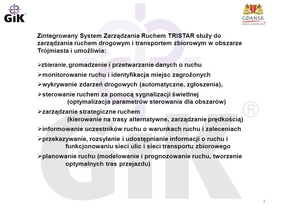 4 Zintegrowany System Zarządzania Ruchem TRISTAR służy do zarządzania ruchem drogowym i transportem zbiorowym w obszarze Trójmiasta i umożliwia:  zbi