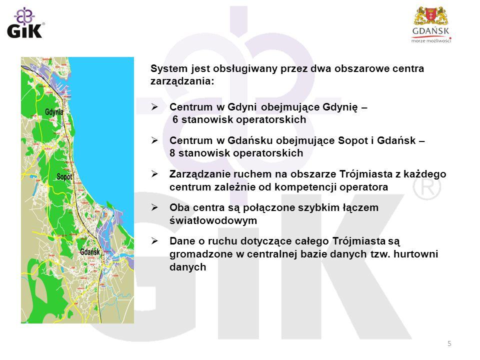 System jest obsługiwany przez dwa obszarowe centra zarządzania:  Centrum w Gdyni obejmujące Gdynię – 6 stanowisk operatorskich  Centrum w Gdańsku ob
