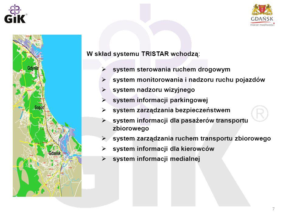 W skład systemu TRISTAR wchodzą:  system sterowania ruchem drogowym  system monitorowania i nadzoru ruchu pojazdów  system nadzoru wizyjnego  syst