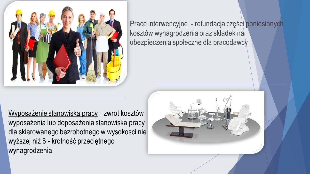 Prace interwencyjne - refundacja części poniesionych kosztów wynagrodzenia oraz składek na ubezpieczenia społeczne dla pracodawcy. Wyposażenie stanowi