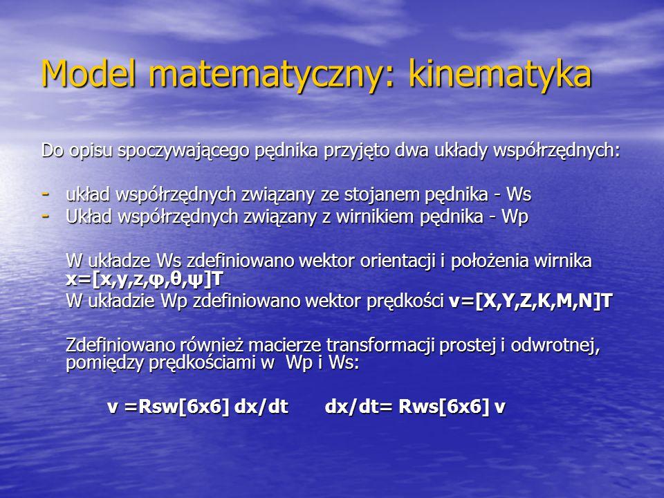 Model matematyczny: kinematyka Do opisu spoczywającego pędnika przyjęto dwa układy współrzędnych: - układ współrzędnych związany ze stojanem pędnika -