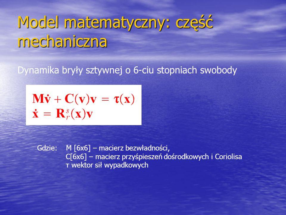 Model matematyczny: część mechaniczna Dynamika bryły sztywnej o 6-ciu stopniach swobody Gdzie: M [6x6] – macierz bezwładności, C[6x6] – macierz przyśp
