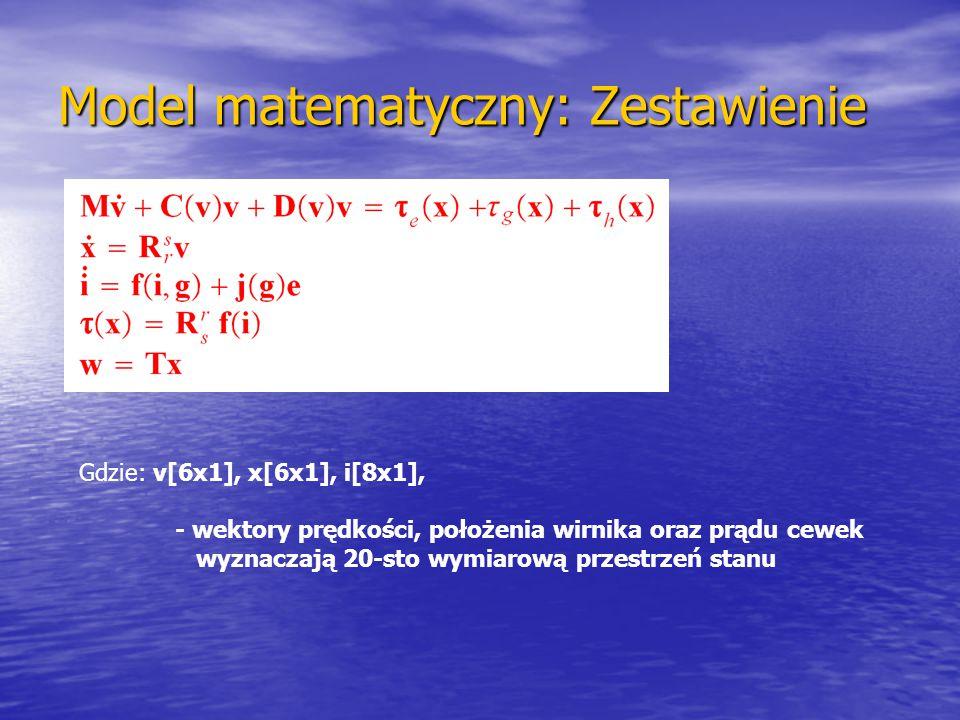 Model matematyczny: Zestawienie Gdzie: v[6x1], x[6x1], i[8x1], - wektory prędkości, położenia wirnika oraz prądu cewek wyznaczają 20-sto wymiarową prz