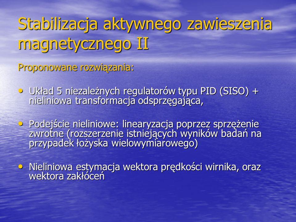 Stabilizacja aktywnego zawieszenia magnetycznego II Proponowane rozwiązania: Układ 5 niezależnych regulatorów typu PID (SISO) + nieliniowa transformac