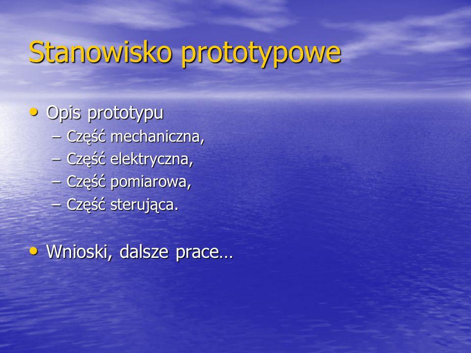 Stanowisko prototypowe Opis prototypu Opis prototypu –Część mechaniczna, –Część elektryczna, –Część pomiarowa, –Część sterująca. Wnioski, dalsze prace