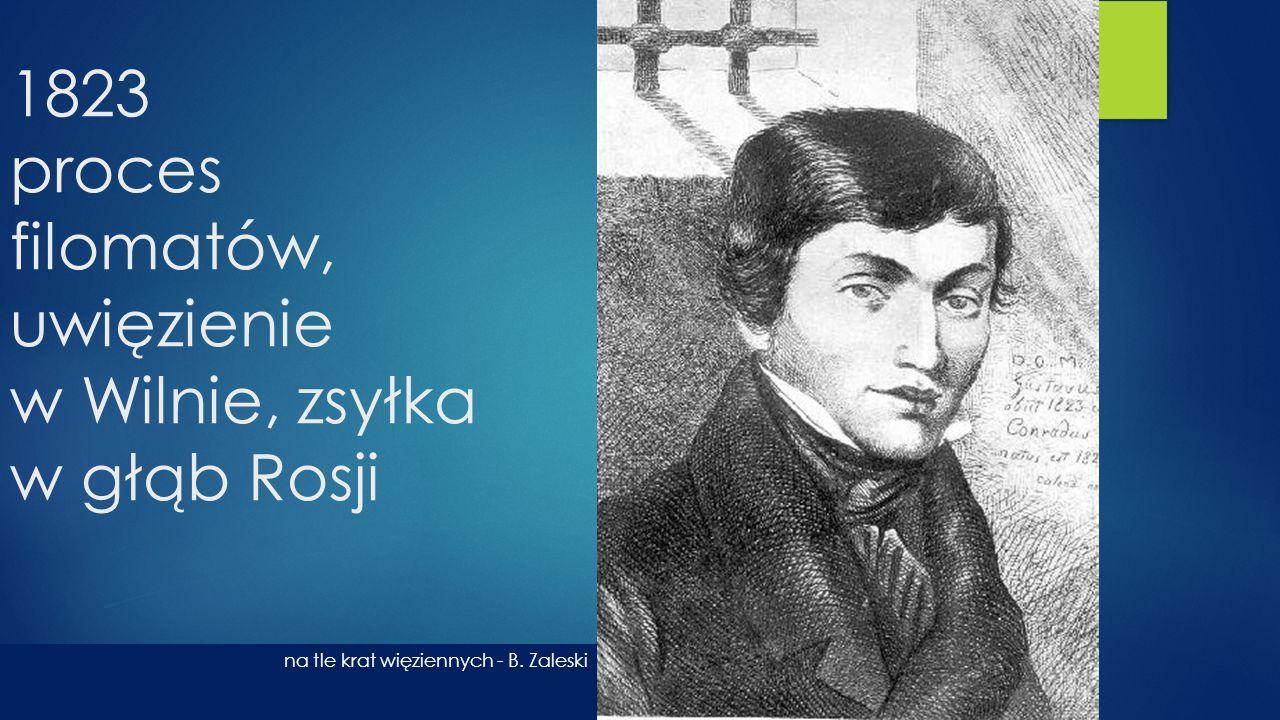 1823 proces filomatów, uwięzienie w Wilnie, zsyłka w głąb Rosji na tle krat więziennych - B. Zaleski
