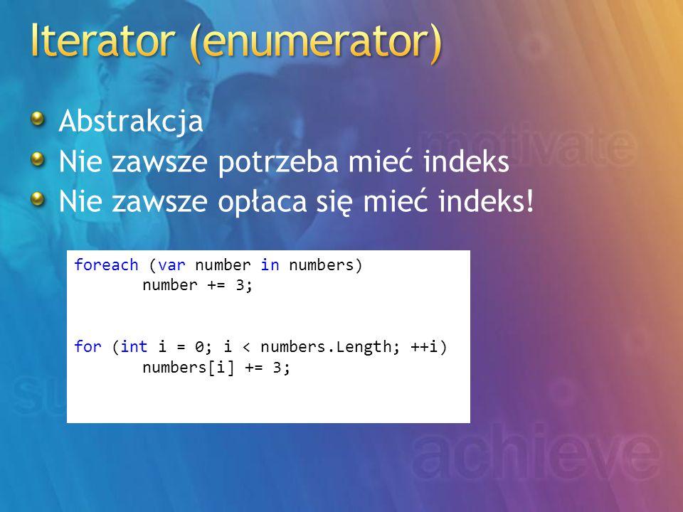 Abstrakcja Nie zawsze potrzeba mieć indeks Nie zawsze opłaca się mieć indeks! foreach (var number in numbers) number += 3; for (int i = 0; i < numbers