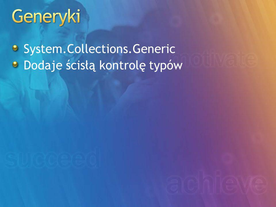 System.Collections.Generic Dodaje ścisłą kontrolę typów
