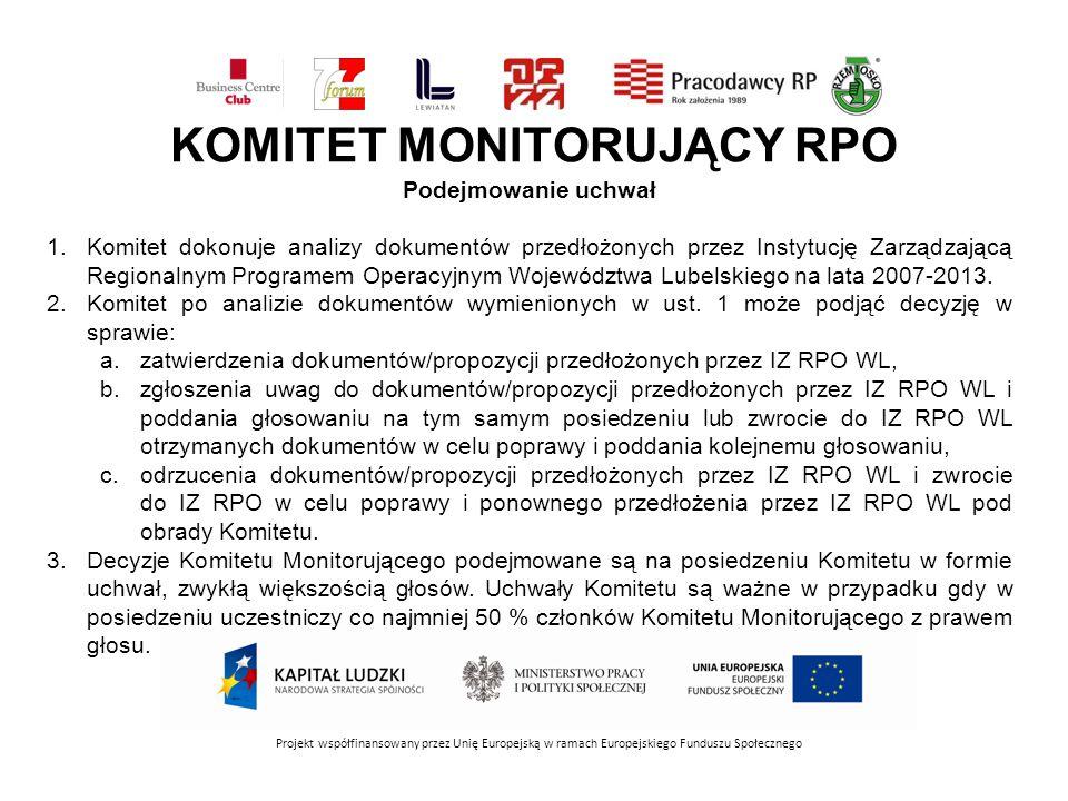 KOMITET MONITORUJĄCY RPO Projekt współfinansowany przez Unię Europejską w ramach Europejskiego Funduszu Społecznego Podejmowanie uchwał 1.Komitet dokonuje analizy dokumentów przedłożonych przez Instytucję Zarządzającą Regionalnym Programem Operacyjnym Województwa Lubelskiego na lata 2007-2013.