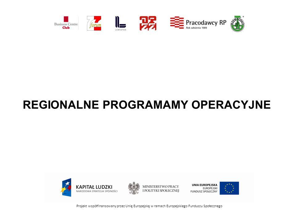 REGIONALNE PROGRAMAMY OPERACYJNE Projekt współfinansowany przez Unię Europejską w ramach Europejskiego Funduszu Społecznego