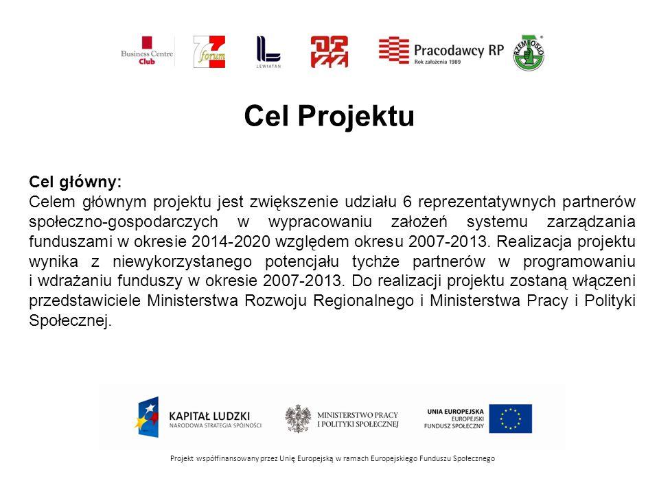 Cel Projektu Projekt współfinansowany przez Unię Europejską w ramach Europejskiego Funduszu Społecznego Cel główny: Celem głównym projektu jest zwiększenie udziału 6 reprezentatywnych partnerów społeczno-gospodarczych w wypracowaniu założeń systemu zarządzania funduszami w okresie 2014-2020 względem okresu 2007-2013.