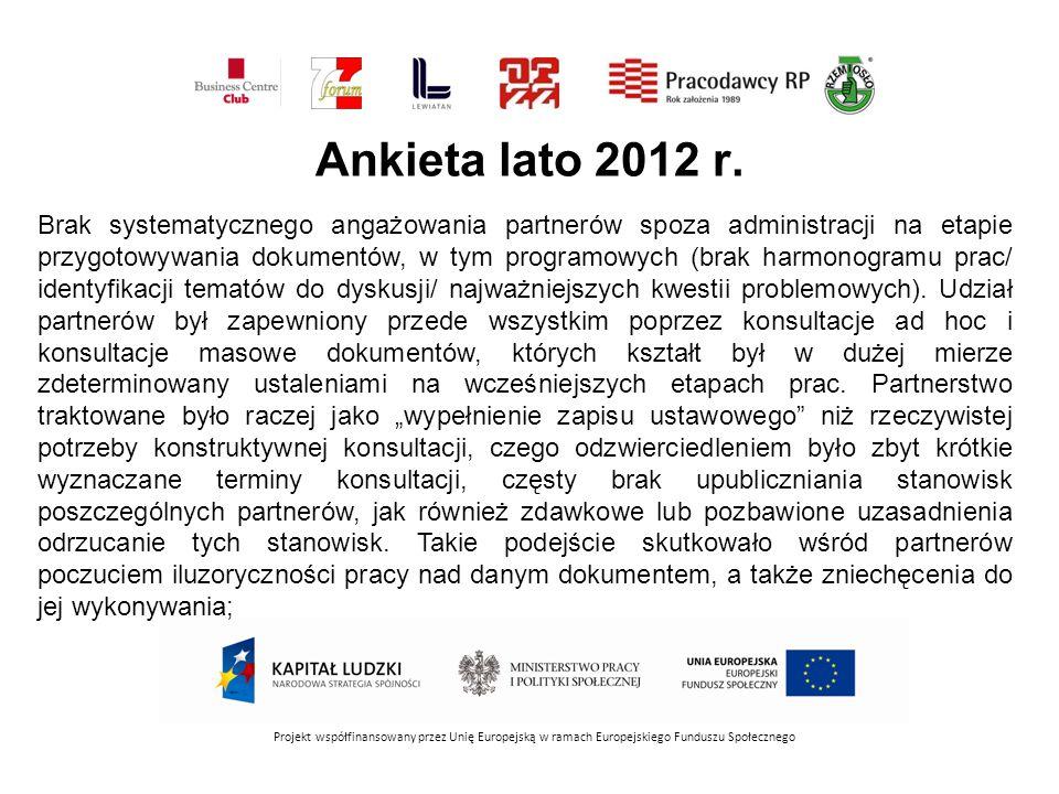 WYZWANIA W RAMACH STRATEGII PARTNERSTWA Projekt współfinansowany przez Unię Europejską w ramach Europejskiego Funduszu Społecznego