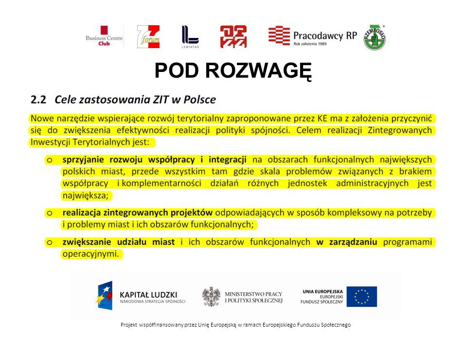 POD ROZWAGĘ Projekt współfinansowany przez Unię Europejską w ramach Europejskiego Funduszu Społecznego