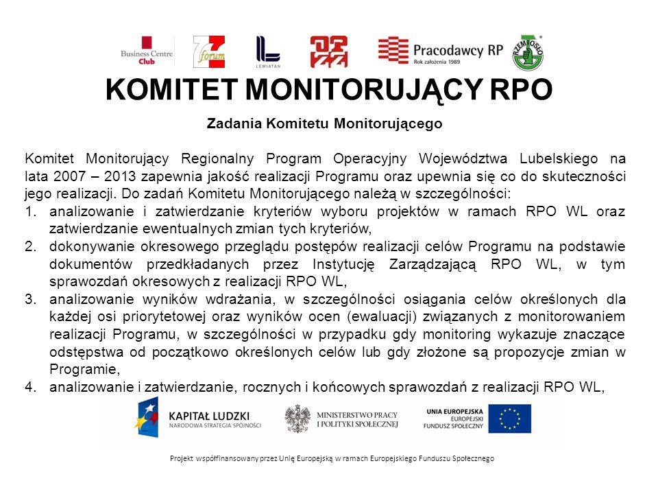 KOMITET MONITORUJĄCY RPO Projekt współfinansowany przez Unię Europejską w ramach Europejskiego Funduszu Społecznego Zadania Komitetu Monitorującego Komitet Monitorujący Regionalny Program Operacyjny Województwa Lubelskiego na lata 2007 – 2013 zapewnia jakość realizacji Programu oraz upewnia się co do skuteczności jego realizacji.