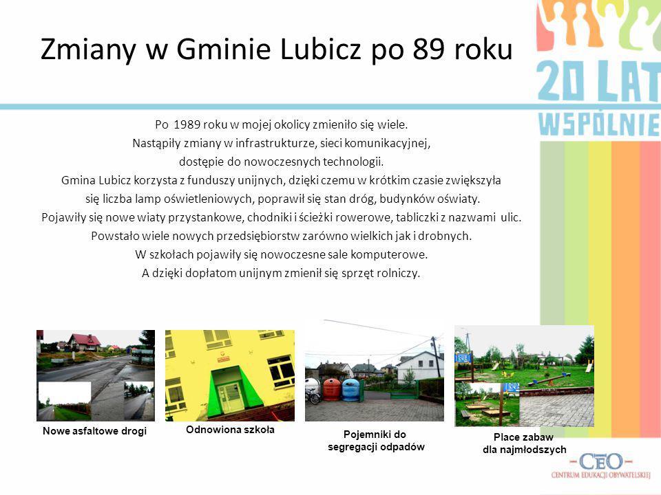 Zmiany w Gminie Lubicz po 89 roku Po 1989 roku w mojej okolicy zmieniło się wiele. Nastąpiły zmiany w infrastrukturze, sieci komunikacyjnej, dostępie