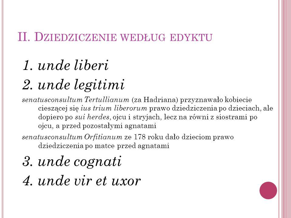II. D ZIEDZICZENIE WEDŁUG EDYKTU 1. unde liberi 2. unde legitimi senatusconsultum Tertullianum (za Hadriana) przyznawało kobiecie cieszącej się ius tr