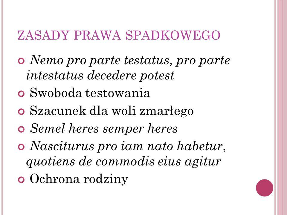 ZASADY PRAWA SPADKOWEGO Nemo pro parte testatus, pro parte intestatus decedere potest Swoboda testowania Szacunek dla woli zmarłego Semel heres semper