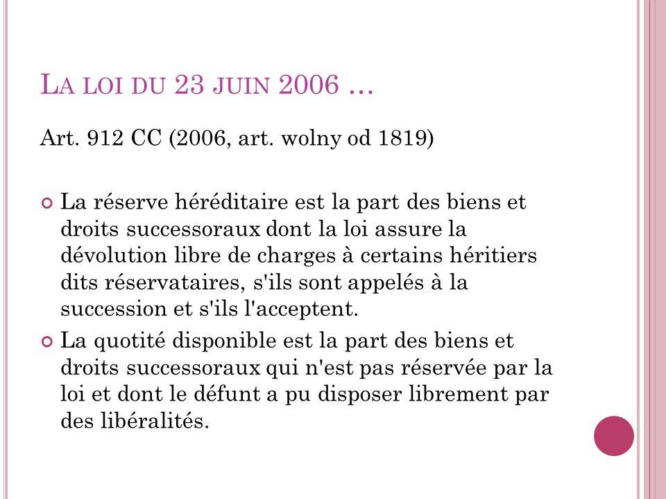 L A LOI DU 23 JUIN 2006 … Art. 912 CC (2006, art. wolny od 1819) La réserve héréditaire est la part des biens et droits successoraux dont la loi assur
