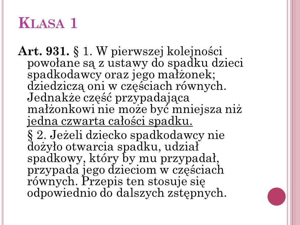 K LASA 1 Art. 931. § 1. W pierwszej kolejności powołane są z ustawy do spadku dzieci spadkodawcy oraz jego małżonek; dziedziczą oni w częściach równyc