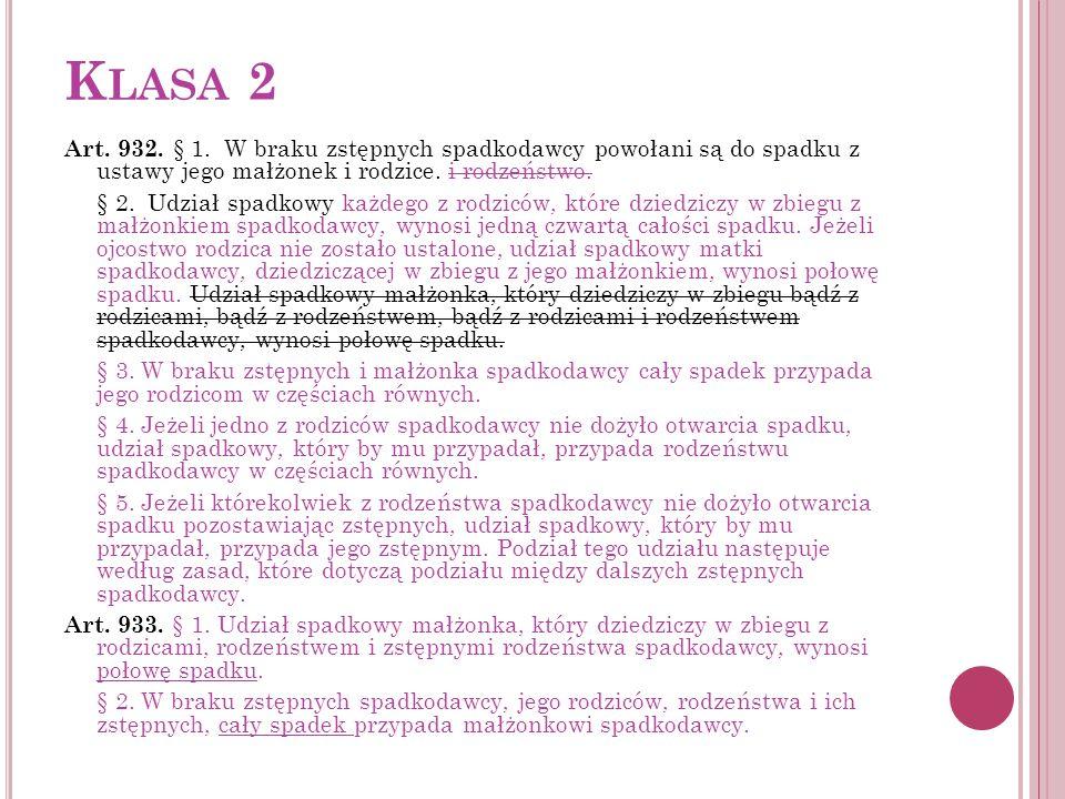 K LASA 2 Art. 932. § 1. W braku zstępnych spadkodawcy powołani są do spadku z ustawy jego małżonek i rodzice. i rodzeństwo. § 2. Udział spadkowy każde