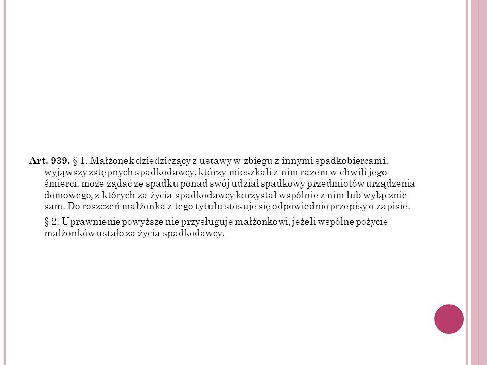 Art. 939. § 1. Małżonek dziedziczący z ustawy w zbiegu z innymi spadkobiercami, wyjąwszy zstępnych spadkodawcy, którzy mieszkali z nim razem w chwili