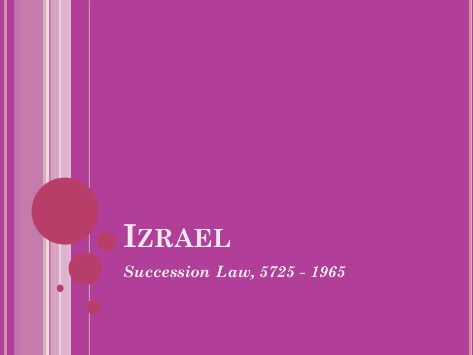 I ZRAEL Succession Law, 5725 - 1965