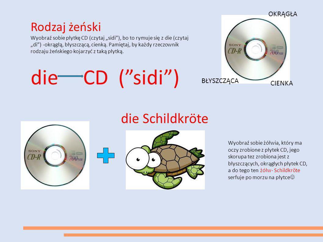"""Rodzaj żeński Wyobraź sobie płytkę CD (czytaj """"sidi""""), bo to rymuje się z die (czytaj """"di"""") -okrągłą, błyszczącą, cienką. Pamiętaj, by każdy rzeczowni"""