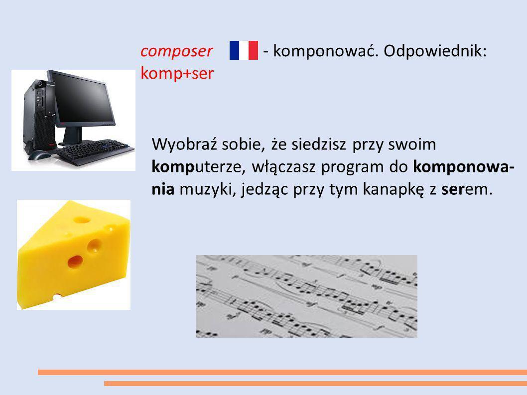 composer komp+ser - komponować. Odpowiednik: Wyobraź sobie, że siedzisz przy swoim komputerze, włączasz program do komponowa- nia muzyki, jedząc przy