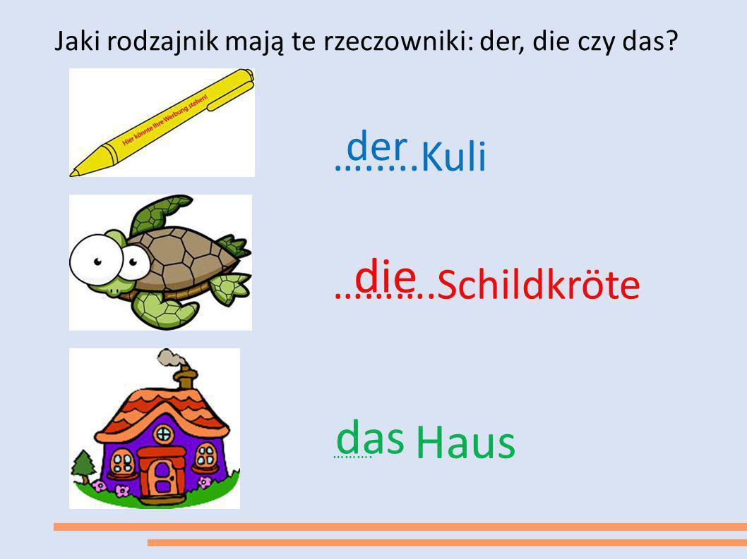 Jaki rodzajnik mają te rzeczowniki: der, die czy das? ….....Kuli der ……….Schildkröte die ………. Haus das