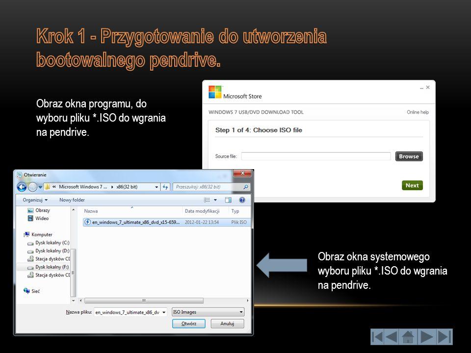 Obraz okna systemowego wyboru pliku *.ISO do wgrania na pendrive. Obraz okna programu, do wyboru pliku *.ISO do wgrania na pendrive.