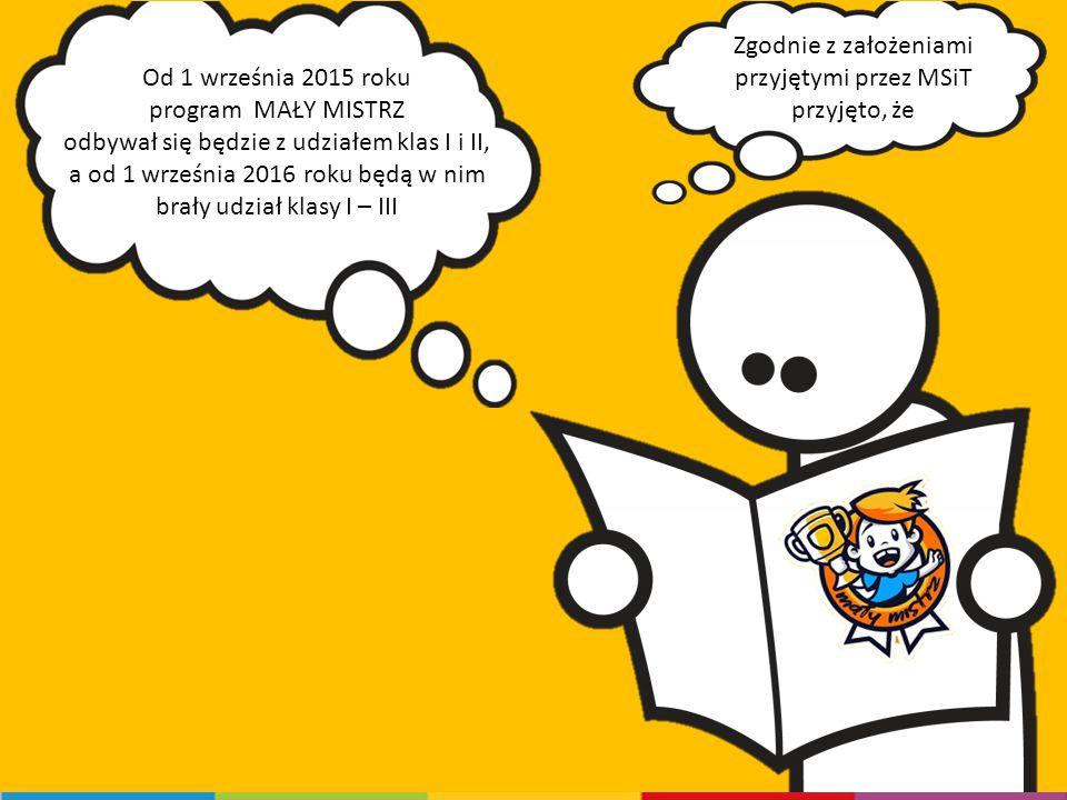 Zgodnie z założeniami przyjętymi przez MSiT przyjęto, że Od 1 września 2015 roku program MAŁY MISTRZ odbywał się będzie z udziałem klas I i II, a od 1