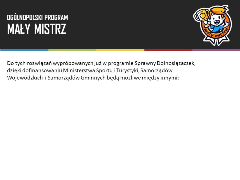 Do tych rozwiązań wypróbowanych już w programie Sprawny Dolnoślązaczek, dzięki dofinansowaniu Ministerstwa Sportu i Turystyki, Samorządów Wojewódzkich