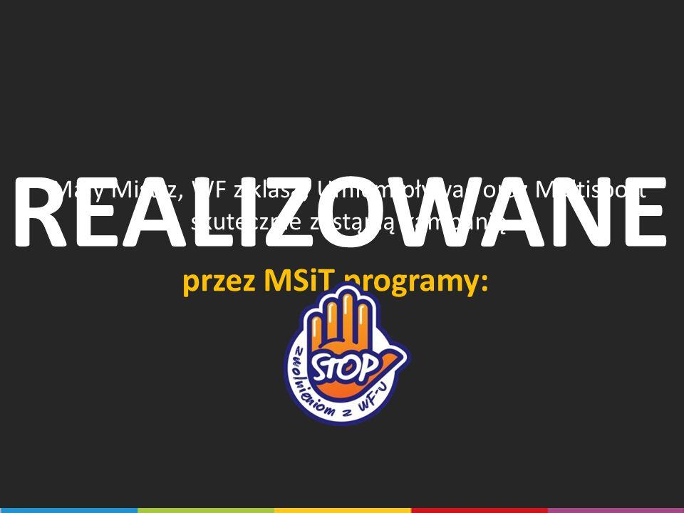 REALIZOWANE przez MSiT programy: Mały Mistrz, WF z klasa, Umiem pływać oraz Multisport skutecznie zastąpią kampanię