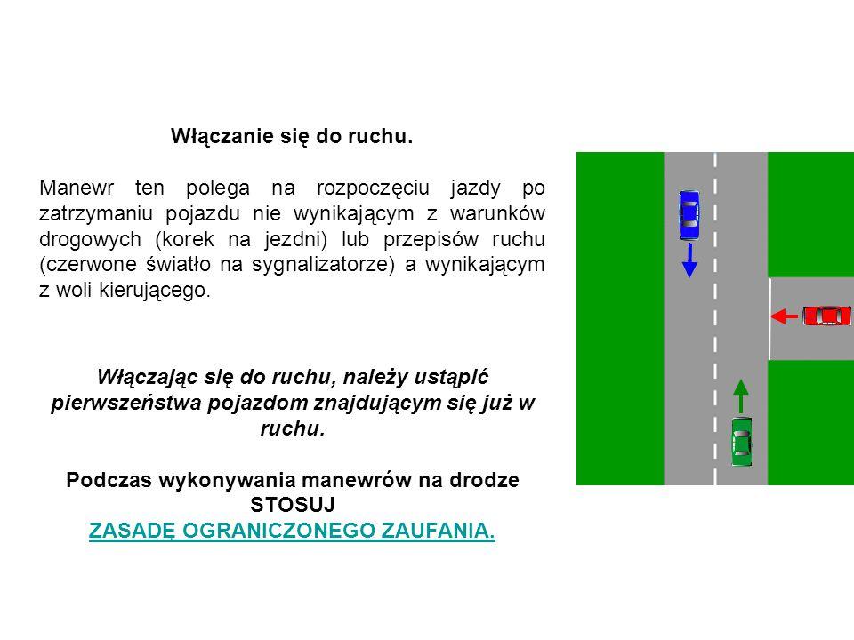 Włączanie się do ruchu. Manewr ten polega na rozpoczęciu jazdy po zatrzymaniu pojazdu nie wynikającym z warunków drogowych (korek na jezdni) lub przep