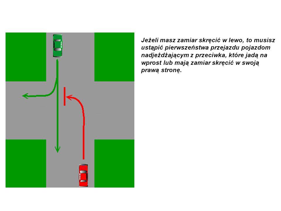 Jeżeli masz zamiar skręcić w lewo, to musisz ustąpić pierwszeństwa przejazdu pojazdom nadjeżdżającym z przeciwka, które jadą na wprost lub mają zamiar skręcić w swoją prawą stronę.
