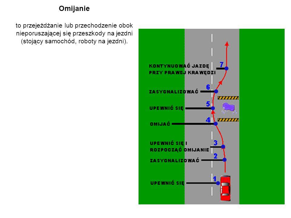 Omijanie to przejeżdżanie lub przechodzenie obok nieporuszającej się przeszkody na jezdni (stojący samochód, roboty na jezdni).