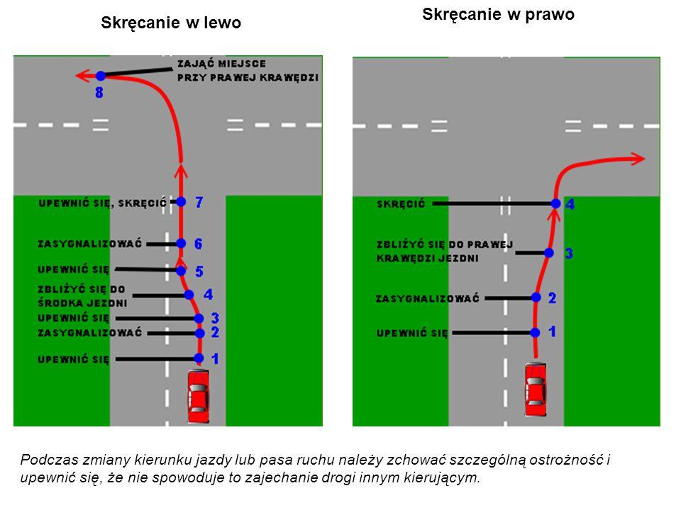 Skręcanie w lewo Skręcanie w prawo Podczas zmiany kierunku jazdy lub pasa ruchu należy zchować szczególną ostrożność i upewnić się, że nie spowoduje to zajechanie drogi innym kierującym.