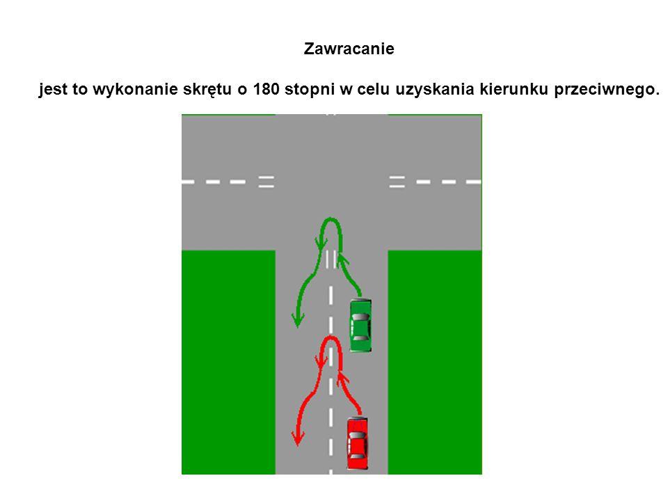 Zawracanie jest to wykonanie skrętu o 180 stopni w celu uzyskania kierunku przeciwnego.