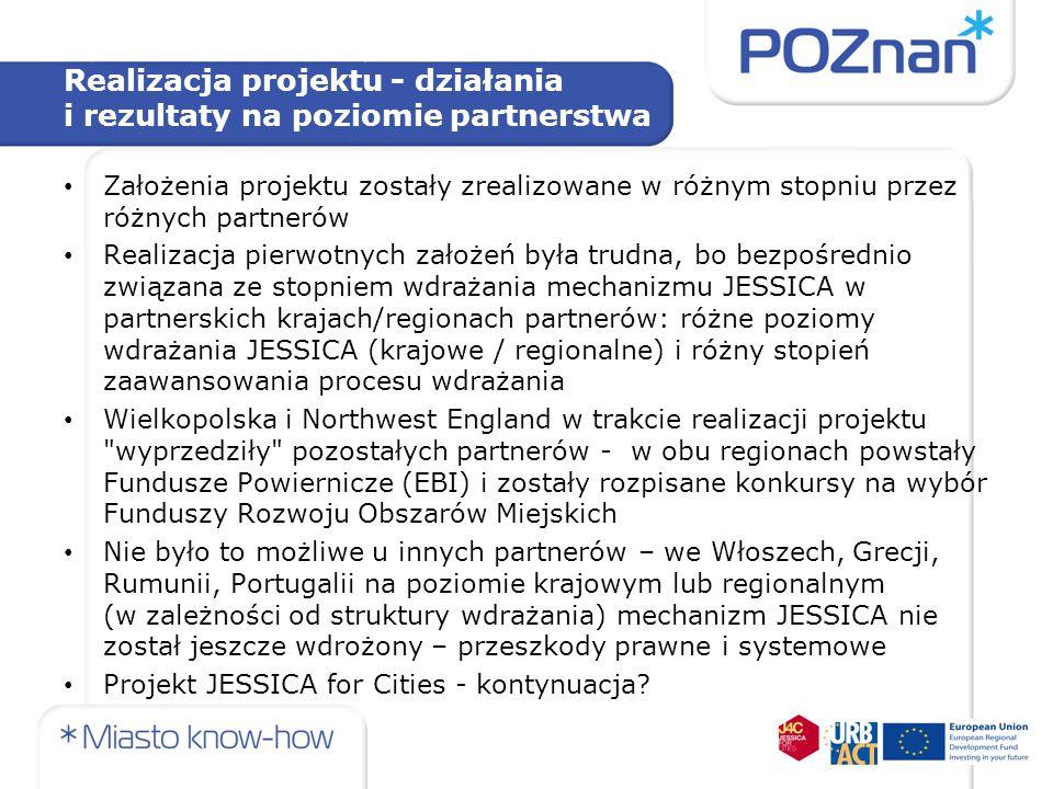 Realizacja projektu - działania i rezultaty na poziomie partnerstwa Założenia projektu zostały zrealizowane w różnym stopniu przez różnych partnerów R