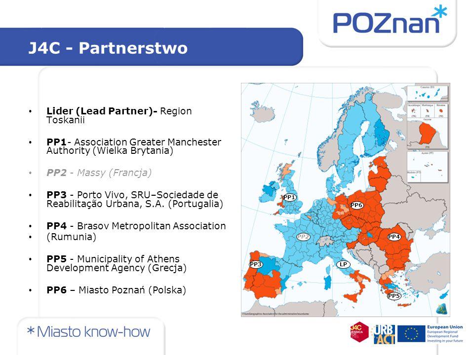 Realizacja projektu - działania i rezultaty na poziomie partnerstwa Założenia projektu zostały zrealizowane w różnym stopniu przez różnych partnerów Realizacja pierwotnych założeń była trudna, bo bezpośrednio związana ze stopniem wdrażania mechanizmu JESSICA w partnerskich krajach/regionach partnerów: różne poziomy wdrażania JESSICA (krajowe / regionalne) i różny stopień zaawansowania procesu wdrażania Wielkopolska i Northwest England w trakcie realizacji projektu wyprzedziły pozostałych partnerów - w obu regionach powstały Fundusze Powiernicze (EBI) i zostały rozpisane konkursy na wybór Funduszy Rozwoju Obszarów Miejskich Nie było to możliwe u innych partnerów – we Włoszech, Grecji, Rumunii, Portugalii na poziomie krajowym lub regionalnym (w zależności od struktury wdrażania) mechanizm JESSICA nie został jeszcze wdrożony – przeszkody prawne i systemowe Projekt JESSICA for Cities - kontynuacja?