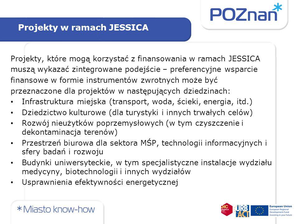Projekty w ramach JESSICA Projekty, które mogą korzystać z finansowania w ramach JESSICA muszą wykazać zintegrowane podejście – preferencyjne wsparcie