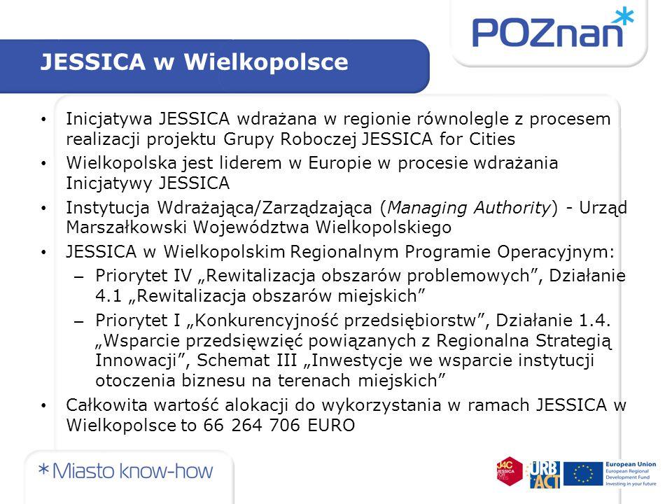 JESSICA w Wielkopolsce Inicjatywa JESSICA wdrażana w regionie równolegle z procesem realizacji projektu Grupy Roboczej JESSICA for Cities Wielkopolska