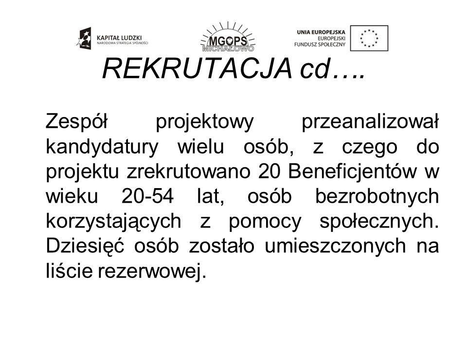 REKRUTACJA cd…. Zespół projektowy przeanalizował kandydatury wielu osób, z czego do projektu zrekrutowano 20 Beneficjentów w wieku 20-54 lat, osób bez