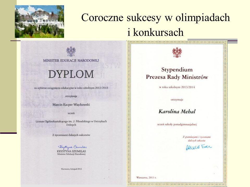 Coroczne sukcesy w olimpiadach i konkursach