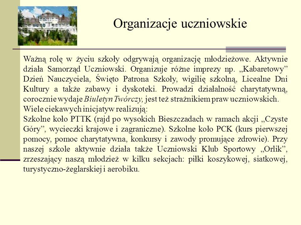 Organizacje uczniowskie Ważną rolę w życiu szkoły odgrywają organizację młodzieżowe. Aktywnie działa Samorząd Uczniowski. Organizuje różne imprezy np.