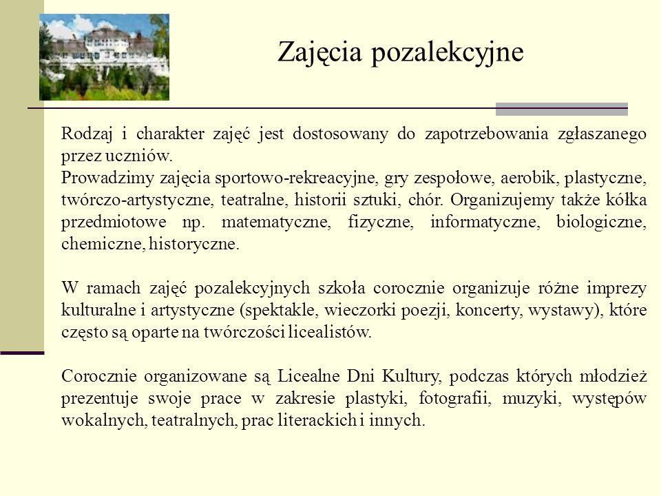 Oferta edukacyjna – rozszerzony zakres nauczania języka polskiego, historii i wiedzy o społeczeństwie.