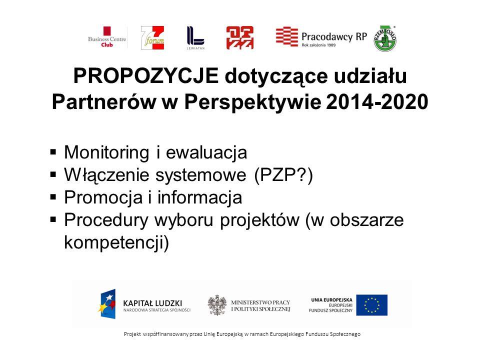 PROPOZYCJE dotyczące udziału Partnerów w Perspektywie 2014-2020 Projekt współfinansowany przez Unię Europejską w ramach Europejskiego Funduszu Społecznego  Monitoring i ewaluacja  Włączenie systemowe (PZP )  Promocja i informacja  Procedury wyboru projektów (w obszarze kompetencji)