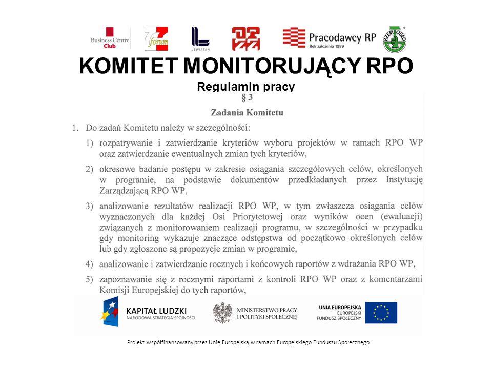 KOMITET MONITORUJĄCY RPO Regulamin pracy Projekt współfinansowany przez Unię Europejską w ramach Europejskiego Funduszu Społecznego