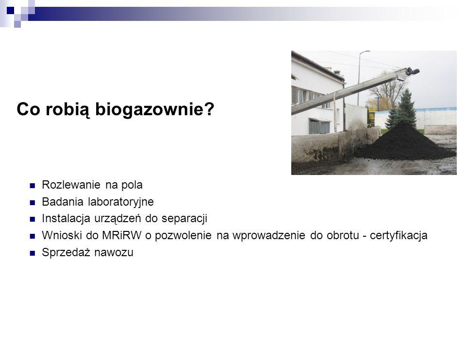 Co robią biogazownie? Rozlewanie na pola Badania laboratoryjne Instalacja urządzeń do separacji Wnioski do MRiRW o pozwolenie na wprowadzenie do obrot